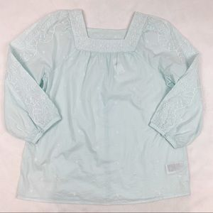 Gap Tall mint green square neck embroidered blouse